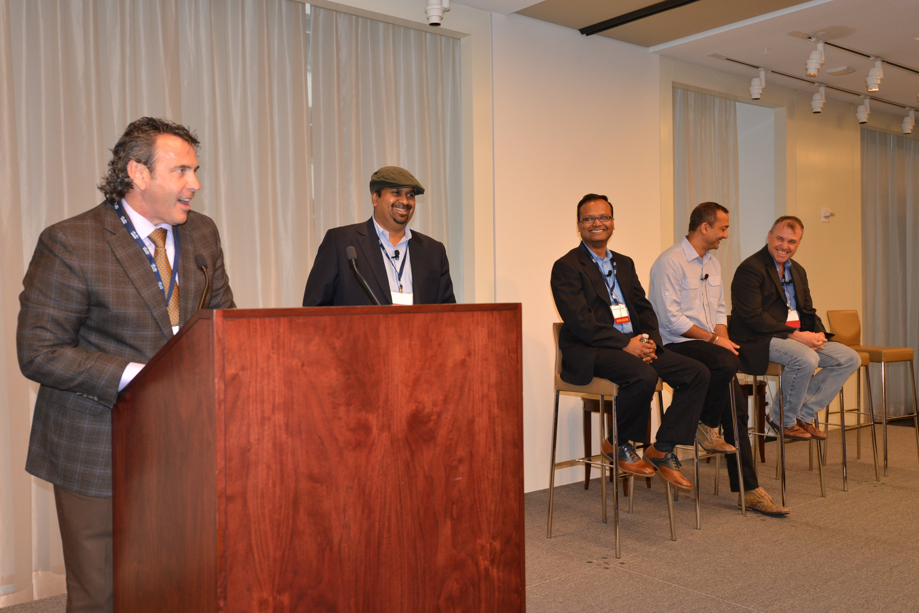Nick Lippis introducing Natarajan Subrahmanyan, Shamim Akhtar, Najam Ahmad, and Kevin Clarke on the SDN Opportunities and Challenges in Content Providers, Public Cloud Operators, and Telcos panel