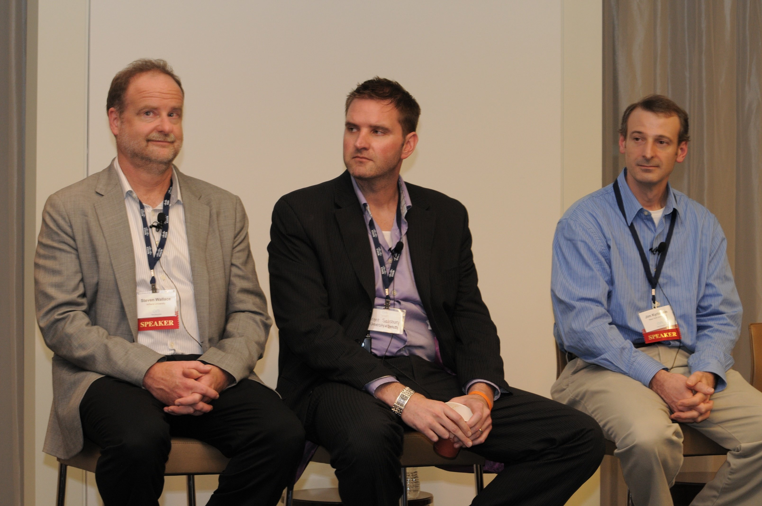 SDN in University Environments panelists Steve Wallace of Indiana University, Brent Salisbury of the University of Kentucky, and Jim Kyriannis of NYU