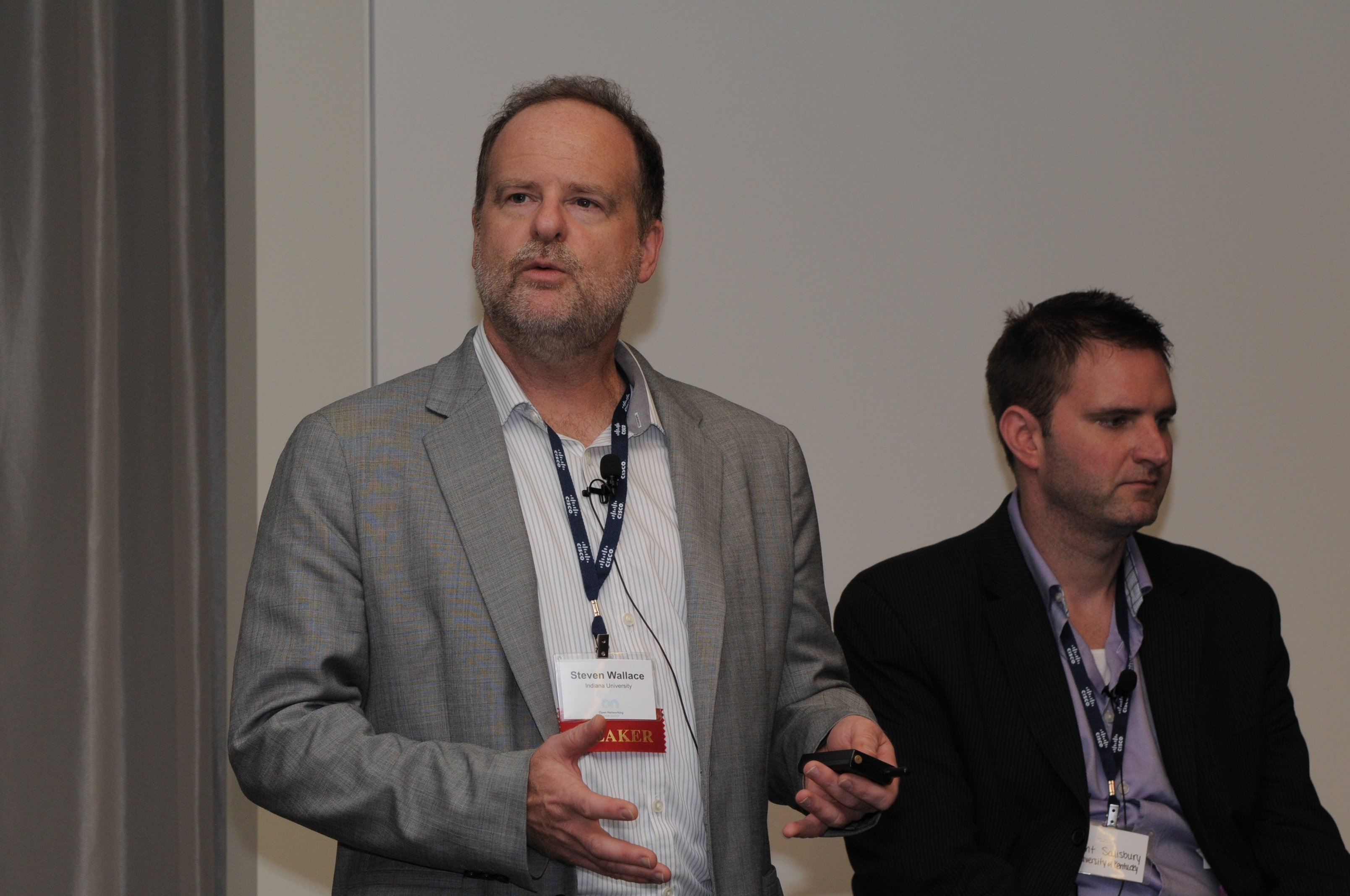 Steve Wallace, Indiana University, addresses the crowd during the SDN in University Environments panel