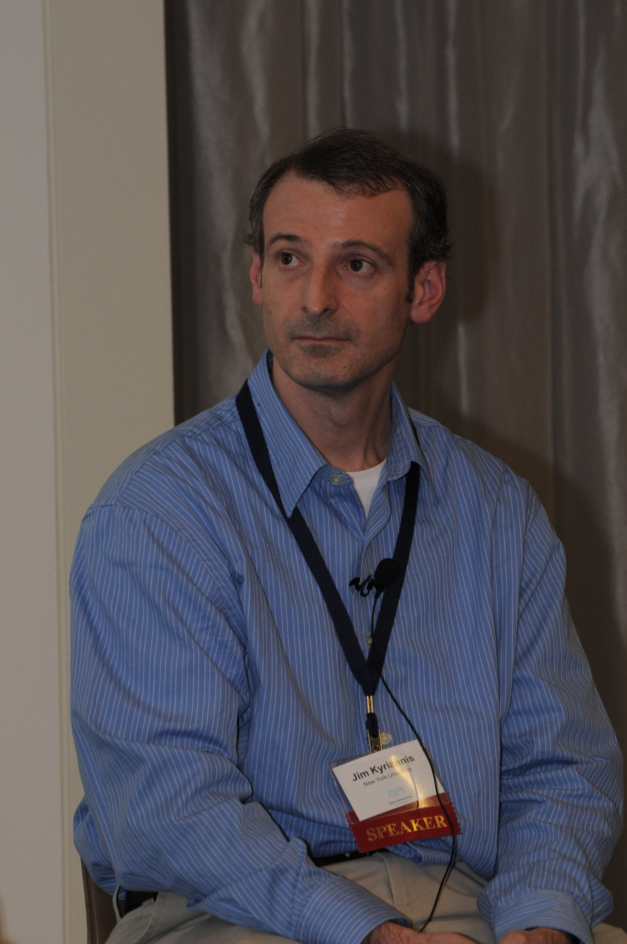 Jim Kyriannis, NYU, addresses the crowd during the SDN in University Environments panel