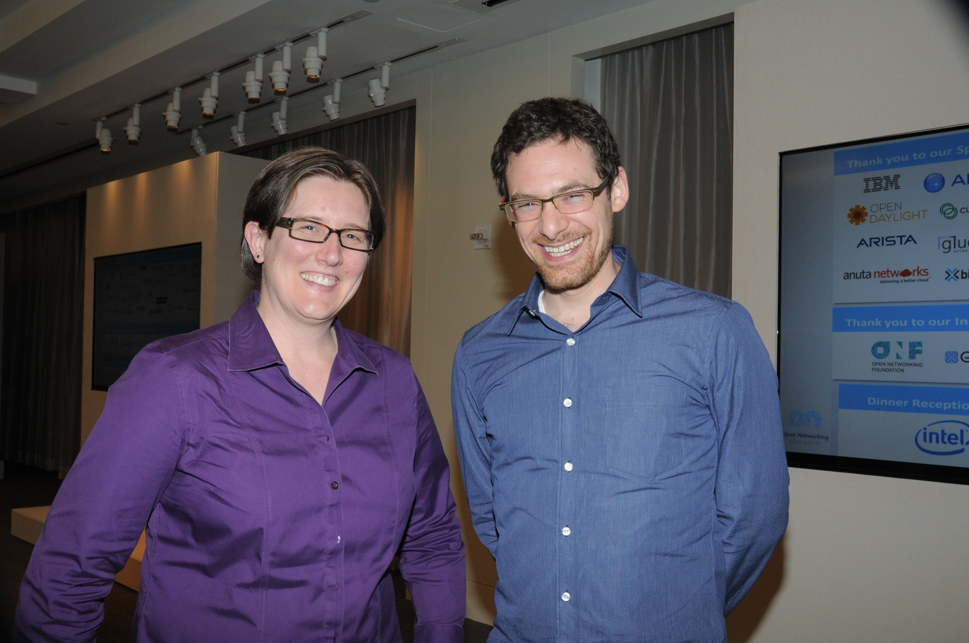 ONUG speaker, Jennifer Rexford, Princeton University, poses with her assistant Following her keynote address