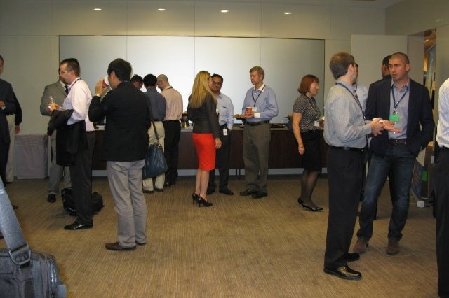 Users and technology demonstrators network in one of the demonstrator rooms